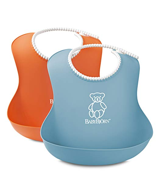 BABYBJORN Soft Bib - Orange:Turquoise (2 pack)