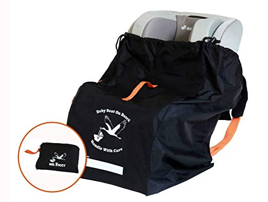 Car Seat Check Bag by Mr. Ziggy | Infant Car Seat Travel Bag Made with Care | Gate Check Bag for Your Child's Car Seat for Free Airport Bag Check-in | Waterproof & Extra Durable W/Padded Backstraps