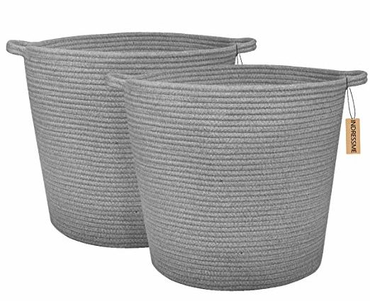 INDRESSME 2 Pack XL Round Cotton Rope Storage Soft Basket Baby Laundry Basket Floor Woven Baskets with Handle Nusery Sotrage Toys Blanket Throw Basket