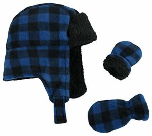 N'Ice Caps Little Boys and Baby Buffalo Plaid Fleece Trooper Hat Mitten Set, best baby winter hat