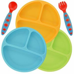 PANDAEAR DIVIDED UNBREKABLE SILICONE BABY AND TODDLER PLATES