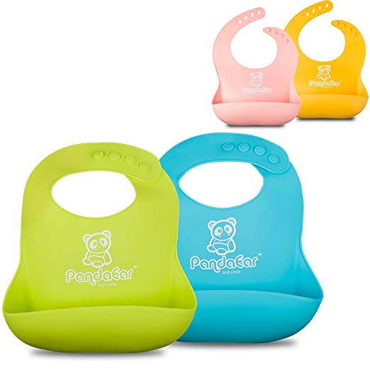 PandaEar Set of 2 Silicone Baby Bibs