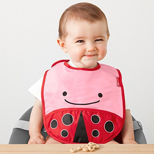Skip Hop Zoo Little Kid and Toddler Tuck-Away Water Resistant Baby Bib, Multi Livie Ladybug