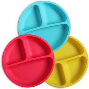 WEESPROUT SILICONE DIVIDED TODDLER PLATES - 3 PACK