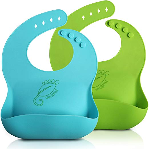 WeeSprout Waterproof Silicone Baby Bibs