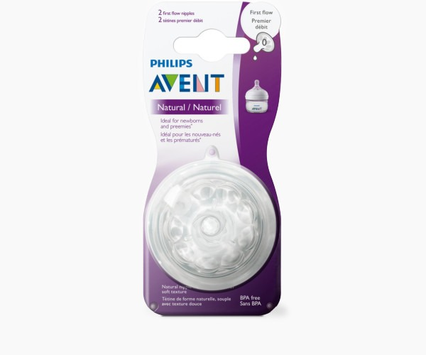 Philips Avent Natural Baby Bottle Nipple, First flow Nipple, 2pk, SCF657/23