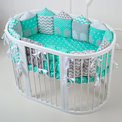 Cubby Baby Nursery Oval Crib with Bumpers