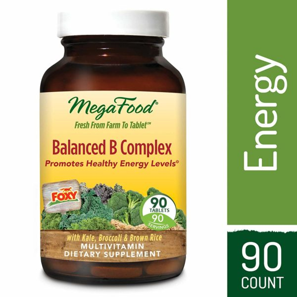 MegaFood - Balanced B Complex, Promotes Energy Production, Alertness, Cognition, Focus, and a Healthy Nervous System with B Vitamins, Folate, and Biotin, Vegan, Gluten-Free, Non-GMO,