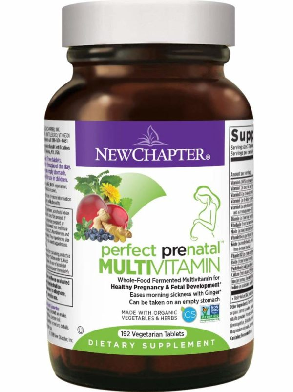 New Chapter Perfect Prenatal Vitamins, Organic Non-GMO Ingredients - Eases Morning Sickness with Ginger, Best Prenatal Vitamins Fermented with Wholefoods for Mom & Baby - 192 ct (Packaging May Vary)