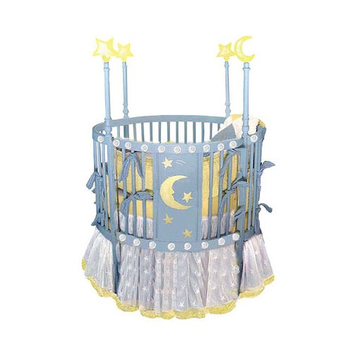 round baby crib blue star